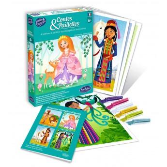 Księżniczki 4 obrazy do zdobienia brokatem dla dzieci +6, SentoSphere
