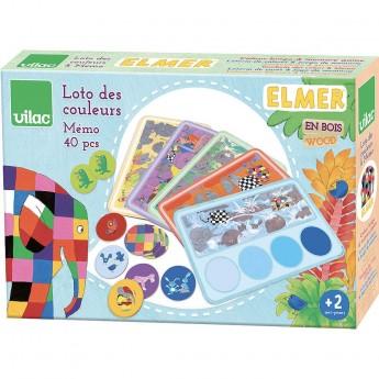 Vilac gra memo i lotto kolorów Słoń Elmer dla 2-latków