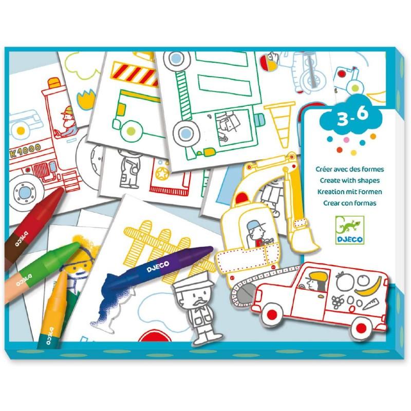 Djeco Pierwsze kolaże Świat Pojazdów dla dzieci +3 lat