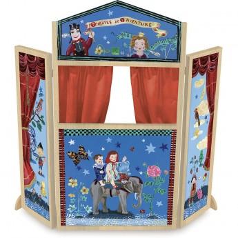 Vilac duży teatrzyk drewniany stojący niebieski -Nathalie Lete