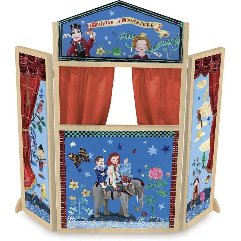 Vilac duży teatrzyk drewniany stojący niebieski -Nathalie Lete | Dadum