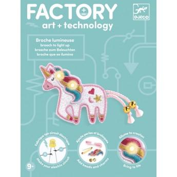 Djeco Factory zestaw Świecąca Przypinka Jednorożec +9