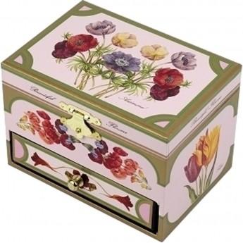 Szkatułka z pozytywką i baletnicą Kwiaty różowa, Trousselier