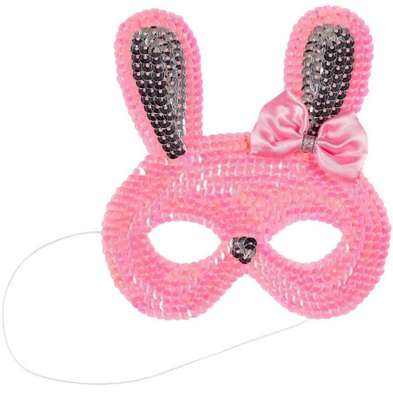 Maska zajączka króliczka różowa z cekinami, Souza!