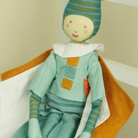 Lalka haftowana chłopak Elf Zielony 60 cm, L'Oiseau Bateau