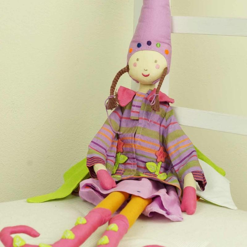 Lalka haftowana Elf dziewczynka różowa 60 cm, L'Oiseau Bateau