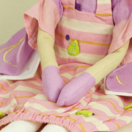 Lalka haftowana Wróżka fioletowa w paski 60 cm, L'Oiseau Bateau