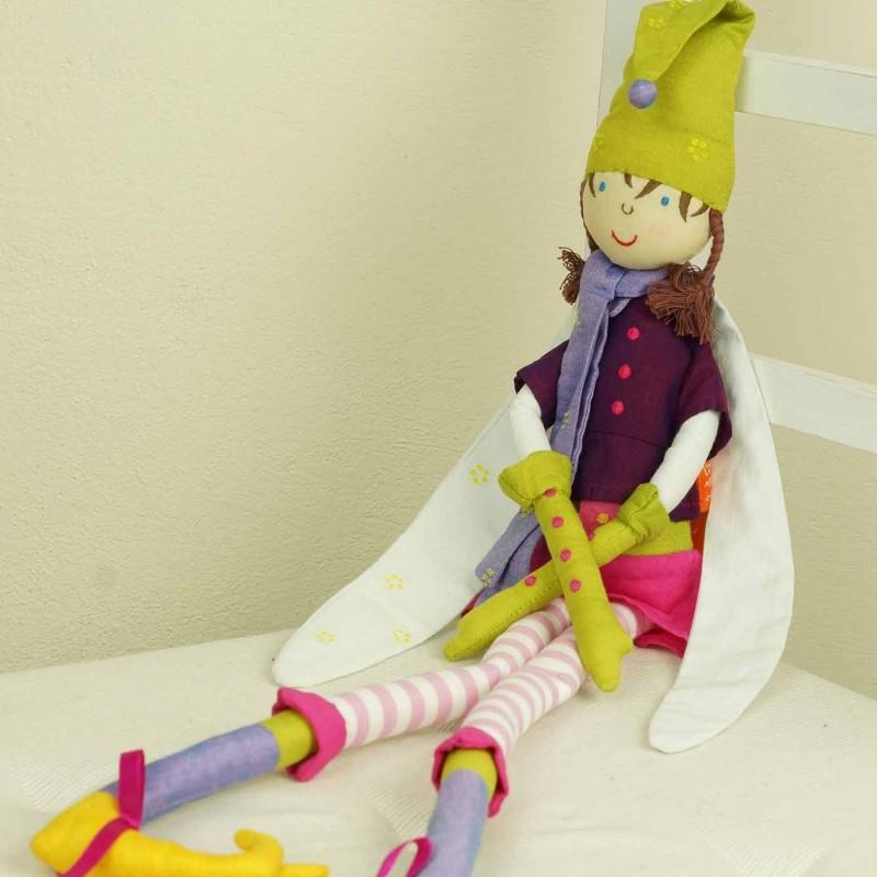 Lalka haftowana Wróżka fioletowo-zielona szmaciana lalka dla dzieci