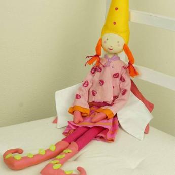 Lalka haftowana Elf dziewczynka różowa listki 60 cm, L'Oiseau Bateau