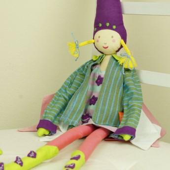 Lalka haftowana Wróżka zielono-fioletowa lalka dla dzieci