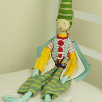 Lalka haftowana Elf seledynowy klaun 60 cm, L'Oiseau Bateau