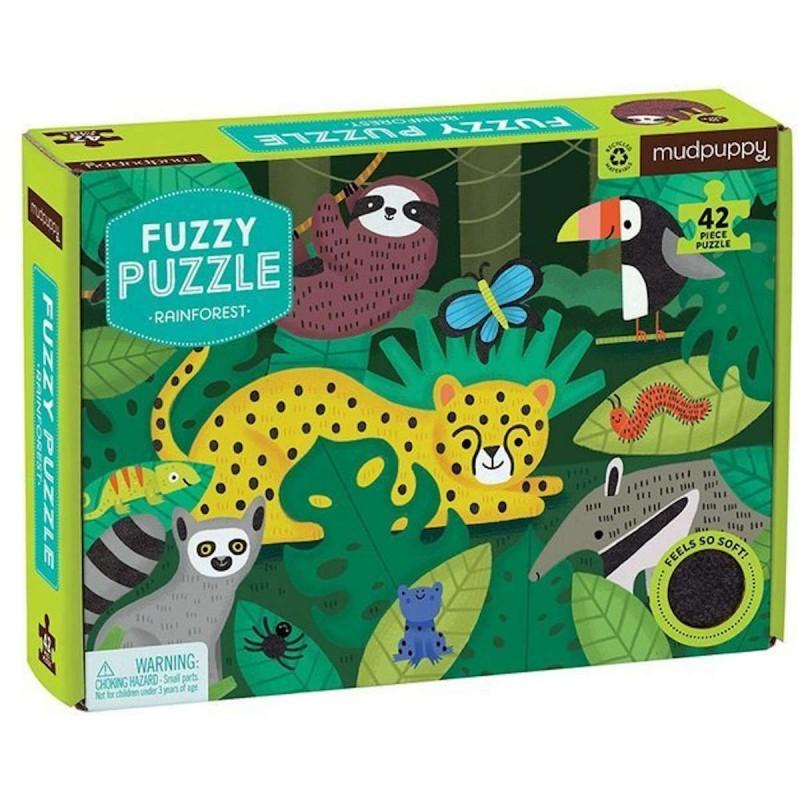 Mudpuppy Puzzle sensoryczne z miękkimi aplikacjami Tropikalny las 42 elementy 3+