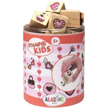 Aladine Stempelki drewniane +5 Kids Serca