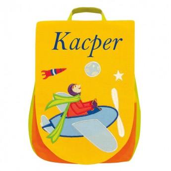 Plecak KACPER żółty z samolotem, lekki plecaczek dla 2-latka, L'Oiseau Bateau