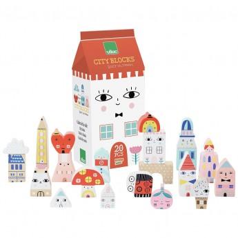 Vilac Klocki drewniane Tiny City 20 sztuk by Suzy Ultman