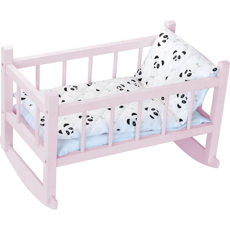 Petitcollin Kołyska dla lalek drewniana z pościelą Panda +3