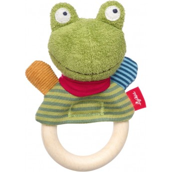 Sigikid Grzechotka drewniana Żabka zabawka dla niemowląt