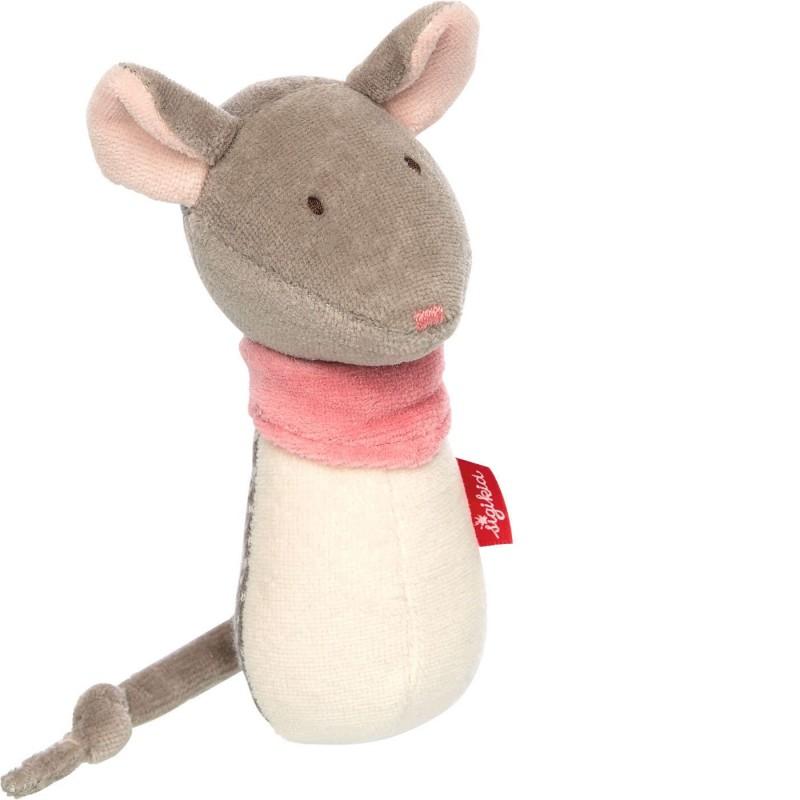 Sigikid Grzechotka różowa myszka zabawka dla niemowląt