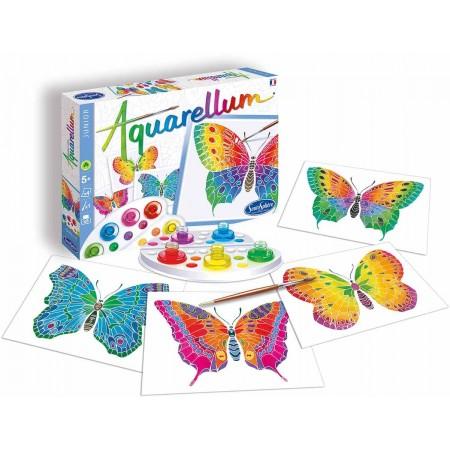 Motylki 4 obrazy do malowania i farby Aquarellum Junior, SentoSphere