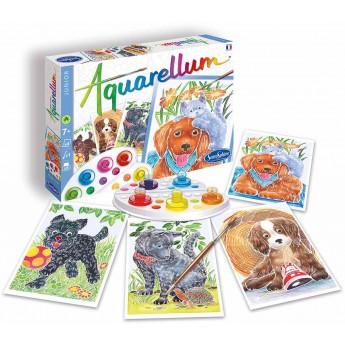 Aquarellum Pieski 4 obrazy i farby, SentoSphere