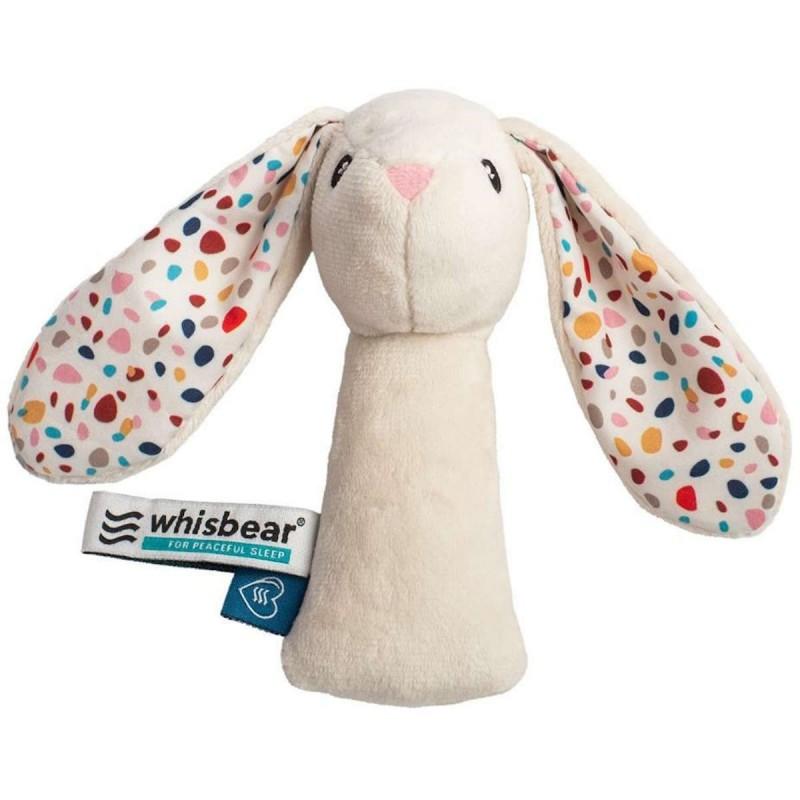 Whisbear Grzechotka Króliczek biały dla niemowląt