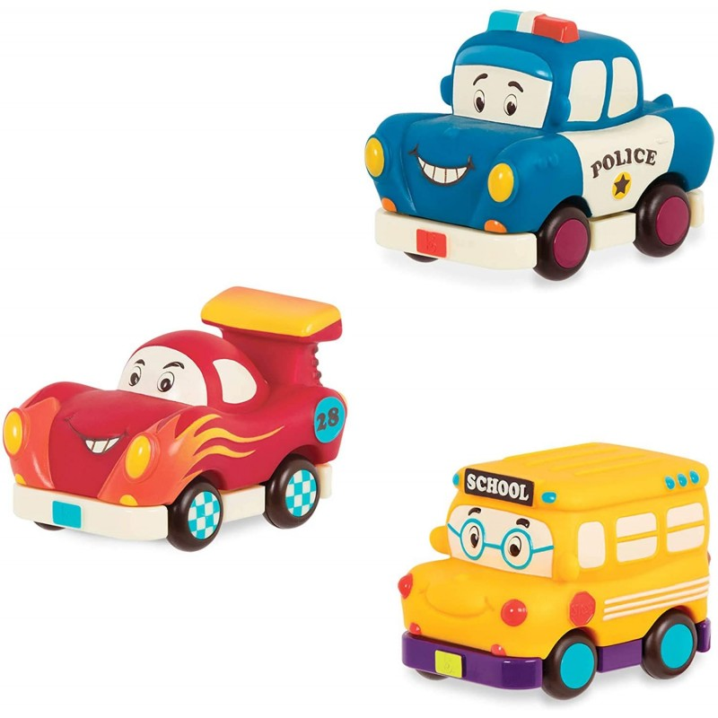 B.Toys Autka miękkie wersja MINI zestaw 3 sztuk, z wyścigówką od 12mc