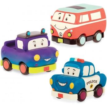 B.Toys Autka miękkie wersja MINI – zestaw 3 sztuk, z pick-upem