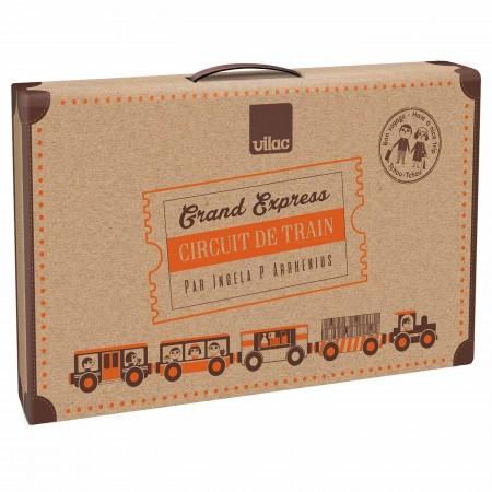Vilac Kolejka drewniana z torami Grand Express 40 elementów