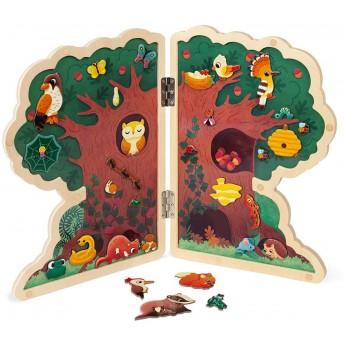 Janod Drzewo układanka drewniana z 30 magnesami +3