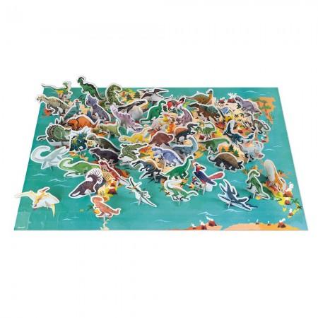 Janod Dinozaury puzzle z figurkami 3D 200 elementów +6