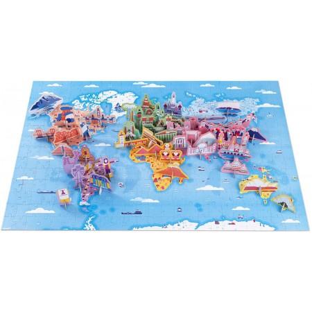 Janod Cuda Świata puzzle z figurkami 3D 350 elementów