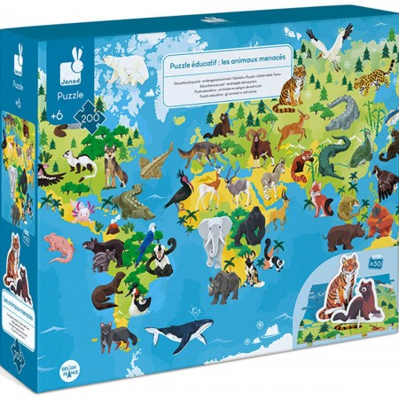 Janod Zagrożone Gatunki puzzle z figurkami 3D 200 elementów