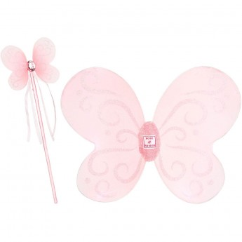 Przebranie wróżki Carola Pink skrzydła i różdżka, Rose & Romeo