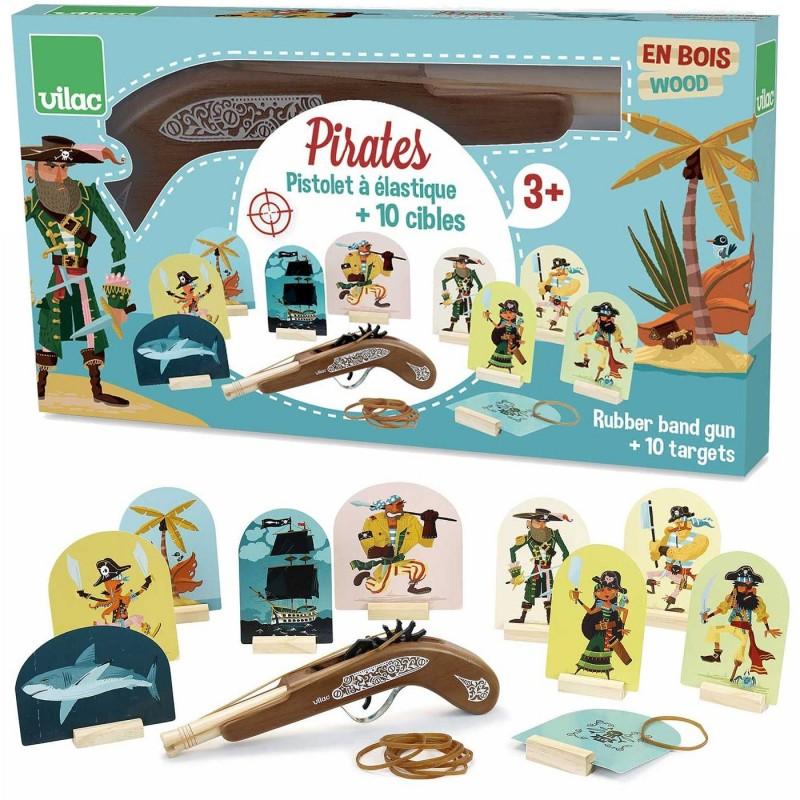 Vilac Piraci gra zręcznościowa z drewnianym pistoletem na gumki
