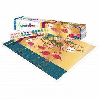 Aquarellum Flamingi plakat do malowania i farby, SentoSphere
