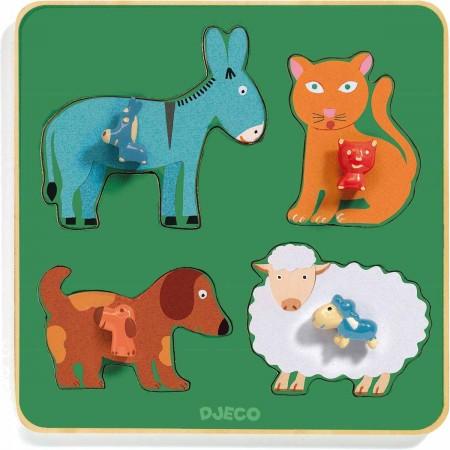 Djeco Drewniane puzzle rodzina z farmy