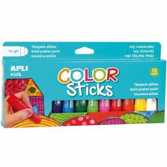 Farby klasyczne w kredce dla dzieci 12 kolorów, Apli Kids