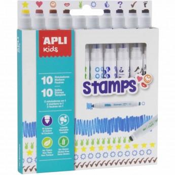 Apli Kids Flamastry ze stempelkami 10 kolorów +3