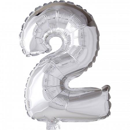 Srebrny balonik na drugie urodziny dziecka Cyfra 2 | Dadum Kraków