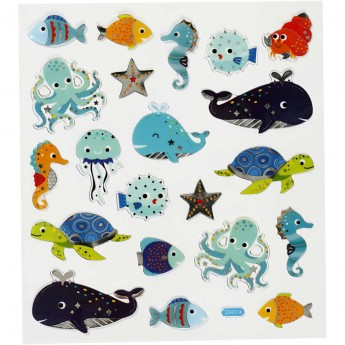Stickers, Sea Animals, 15x16,5 cm, 1 Sheet