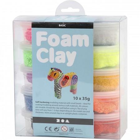 Masa plastyczna bąbelkowa Foam Clay 10 kolorów, Creativ Co.