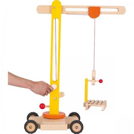 Goki Dźwig drewniany 64 cm na kółkach dla dzieci +3