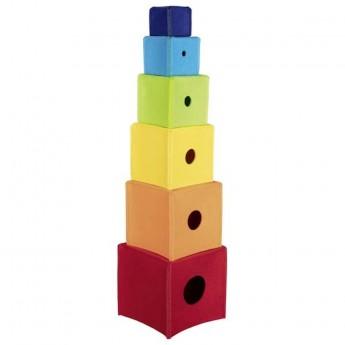 Goki Piramida kolorowych materiałowych klocków +12mc