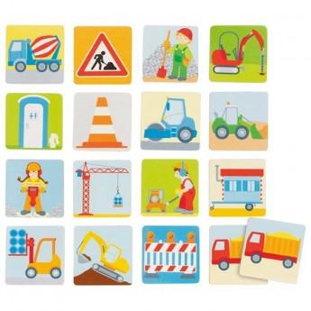 Goki Memo drewniane 32 elementy Na Budowie dla dzieci +3