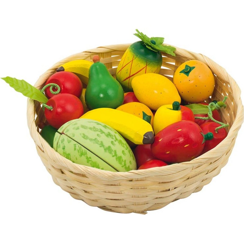 Goki Owoce drewniane w koszyczku 23 sztuk do zabawy w sklep +3