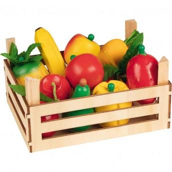 Goki Owoce i warzywa drewniane w skrzynce 10 sztuk do zabawy +3