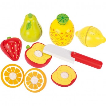 Goki Owoce drewniane na rzep do krojenia 6 sztuk zabawka +3