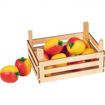 Goki Jabłka drewniane w skrzynce 10 sztuk do zabawy w sklep +3