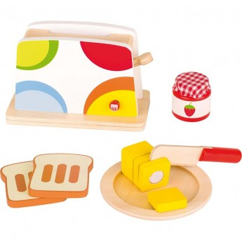 Goki Toster z 9 akcesoriami drewniana zabawka dla dzieci +3