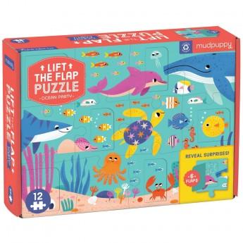 Mudpuppy Puzzle z okienkami Przyjęcie w Oceanie